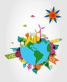 Concepto ambiente colorido mundo eco. — Vector de stock