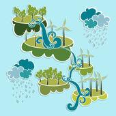 Elementos de energía amigable ciudad verde eco. — Vector de stock