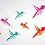 Colorful humming birds illustration. — Stock Vector