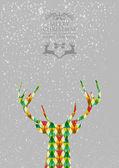 Merry Christmas colorful reindeer shape. — Stock Vector