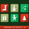 Merry Christmas colorful web app flat icons illustration set. — Stock Vector