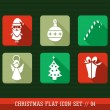 Merry Christmas colorful web app flat icons set illustration. — Stock Vector