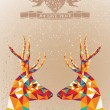 Merry Christmas colorful reindeers shape. — Stock Vector