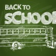 Back to school bus text chalkboard illustration EPS10 file. — Stock Vector #30466073