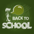 Back to school text boy social bubble chalkboard EPS10 file. — Stock Vector #30467223