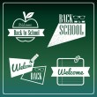 Back to school retro ribbons green set. — Vettoriali Stock