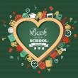 Back to school text, education love symbol and icons. — Stock Vector