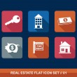 Real estate business flat icons set. — Stock Vector