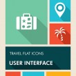 Colorful travel UI apps user interface flat icons. — Stock Vector #30468767