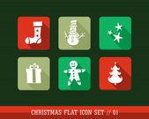 Joyeux Noël coloré web app icônes plate illustration définie. — Vecteur