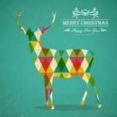 Merry Christmas colorful reindeer shape illustration. — Stock Vector