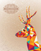 Merry Christmas colorful reindeer shape background. — Stock Vector