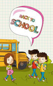 Back to school kids social bubble text. — Stock Vector