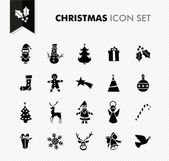 Merry Christmas black icons set. — Stock Vector