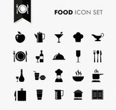 Black isolated Food menu icon set. — Stock Vector