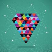 Retro hipsters trendy triangle diamond illustration. — Stock Vector