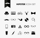 Black isolated vintage hipster icon set. — Stock Vector