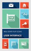 красочные недвижимости пользовательского интерфейса приложений пользователя интерфейс плоский иконки. — Cтоковый вектор