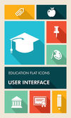 Colorful education UI apps user interface flat icons. — Stock Vector