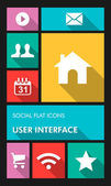 Colorful social media UI apps user interface flat icons. — Stock Vector