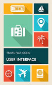 Colorful travel UI apps user interface flat icons. — Stock Vector