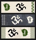 Forma humana entrenamiento om símbolo yoga ilustración. — Vector de stock