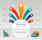 Social media Infographic template graphic elements illustration. — Stock Vector