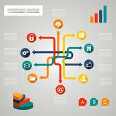 Illustrazione di infografica diagramma icone rete — Vettoriale Stock