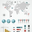 Shipping logistic infographic world map icons set illustration. — Image vectorielle