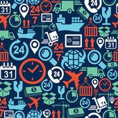 Dodávky logistických mobilní bezešvé vzor ikony nastavit pozadí. — Stock vektor