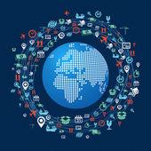 Mondo mappa spedizione rete icone composizione. — Vettoriale Stock