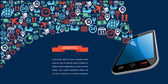 Shipping logistics app text ribbon mobile icon splash illustrati — Stock Vector