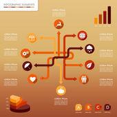 Sonbahar sezonu infographic ağ öğelerini sonbahar grafik templat — Stok Vektör