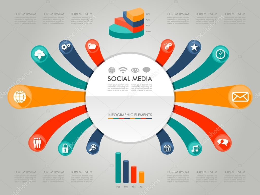 Colorful Infographic diagram social media icons ...