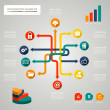 Infographic diagram icons network illustration — Stock Vector