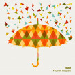 Fall season triangle composition umbrella EPS10 file background. — Stock Vector