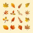 Vintage autumn season tree leaves set. EPS10 file. — ストックベクタ