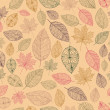 Stock Vector: Vintage drawing fall leaves seamless pattern background. EPS10 f