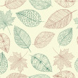 Vintage drawing fall leaves seamless pattern background. EPS10 f — Stock Vector