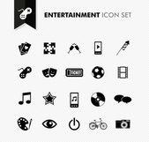 Entertainment fresh icon set. — Vetor de Stock