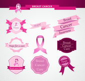 Breast cancer care awareness ribbon and stamps EPS10 file. — Stock Vector