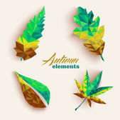 Fall season triangle leaves composition icon set. EPS10 file. — Stock Vector