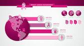 Seno cancro consapevolezza nastro infografica eps10 file di modello. — Vettoriale Stock