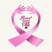 Breast cancer awareness ribbon text human hands composition — Stock Vector