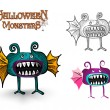 Stock Vector: Halloween Monsters spooky creature illustration EPS10 file