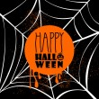 Happy Halloween pumpkin text over spider web illustration EPS10 — Vector de stock