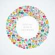 Social media network icons circle composition EPS10 file. — Vector de stock