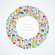 Social media network icons circle composition EPS10 file. — Stock vektor