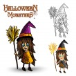 Stock Vector: Halloween monsters spooky witch illustration EPS10 file