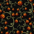Vetorial Stock : Halloween spooky pumpkins seamless pattern background EPS10 file
